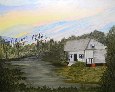 Painting - Acadian Home On The Bayou by Bertie Edwards
