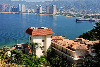 Acapulco Bay Architecture Art Print by Linda Phelps