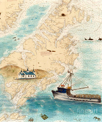 Russian Orthodox Church Painting - Accomplice Kodiak Crab Fishing Boat Cathy Peek Nautical Chart Map  by Cathy Peek
