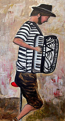 Accordian Painting - Accordian Player by Indra Dosanjh