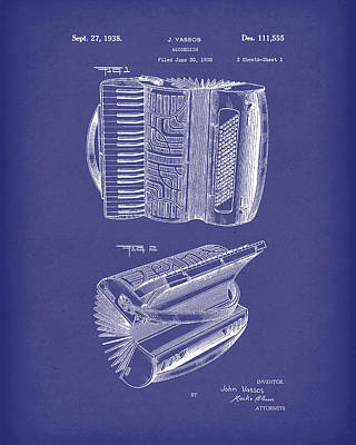 Drawing - Accordion 1938 Patent Art Blue by Prior Art Design