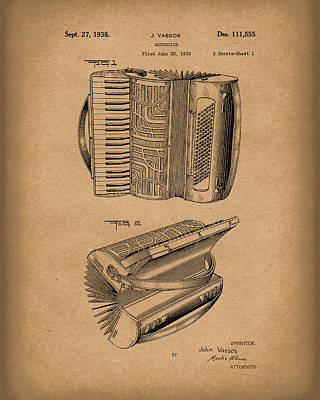 Drawing - Accordion 1938 Patent Art Brown by Prior Art Design