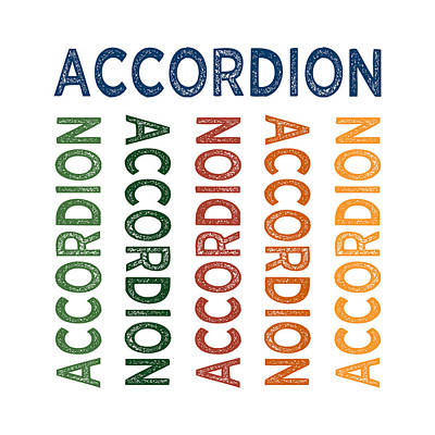 Accordion Digital Art - Accordion Cute Colorful by Flo Karp