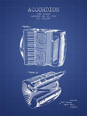 Accordion Drawing - Accordion Patent From 1938 - Blueprint by Aged Pixel