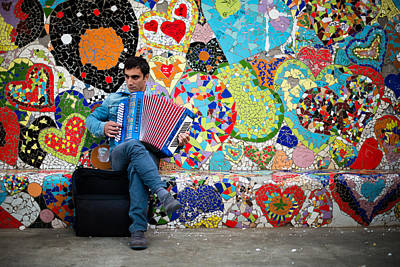 Accordion Player Art Print by Pedro Nunez