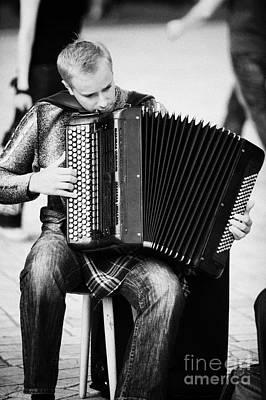 Accordion Player Playing Street Musician In Rynek Glowny Town Square Krakow Art Print by Joe Fox