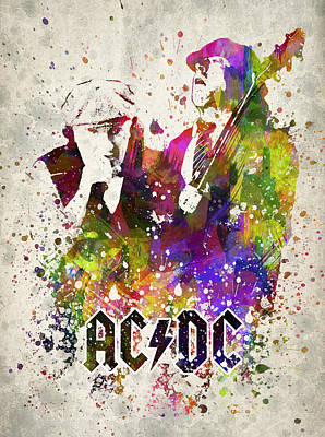 Musicians Digital Art Rights Managed Images - ACDC in color Royalty-Free Image by Aged Pixel