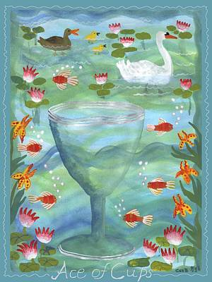 Swan Painting - Ace Of Cups With Caption by Sushila Burgess