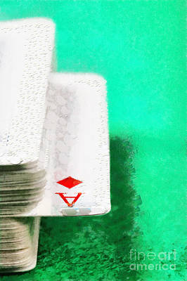 Hidden Objects Painting - Ace Of Diamonds In Card Deck Closeup Painting by Magomed Magomedagaev