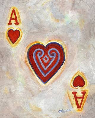 Poker Painting - Ace Of Hearts by Linda Mears