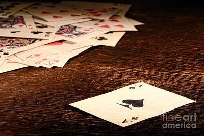 Wood Table Photograph - Ace Of Spade by Olivier Le Queinec