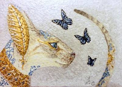 Aceo Painting - Aceo Bastet And Blue Butterflies by Jennifer  Anne Esposito
