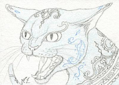 Extinct And Mythical Drawing - Aceo Blue Cat 3 by Jennifer  Anne Esposito