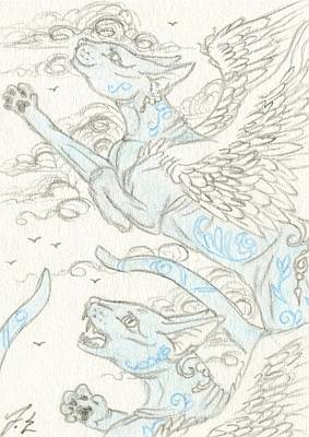 Extinct And Mythical Drawing - Aceo Blue Cats by Jennifer  Anne Esposito