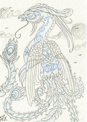 Extinct And Mythical Drawing - Aceo Blue Chinese Phoenix by Jennifer  Anne Esposito