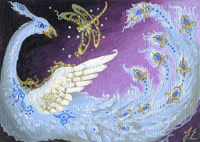 Phoenix Bird Painting - Aceo Blue Phoenix And The Dragonfly by Jennifer  Anne Esposito