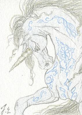 Extinct And Mythical Drawing - Aceo Blue Unicorn 3 by Jennifer  Anne Esposito