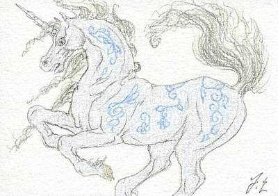 Extinct And Mythical Drawing - Aceo Blue Unicorn 4 by Jennifer  Anne Esposito