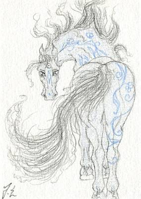 Extinct And Mythical Drawing - Aceo Blue Unicorn 5 by Jennifer  Anne Esposito
