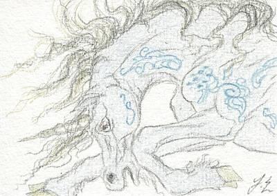 Unicorn Drawing - Aceo Blue Unicorn by Jennifer  Anne Esposito