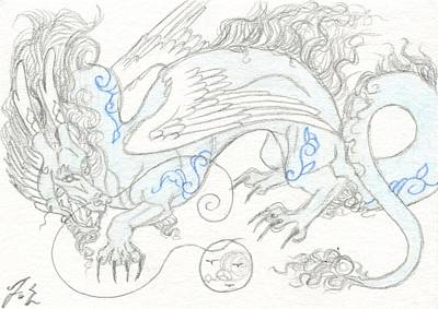 Dragon Drawing - Aceo Blue Willow Dragon by Jennifer  Anne Esposito