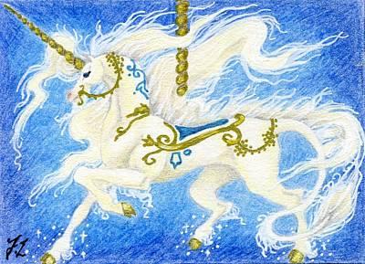 Aceo Carousel Unicorn Original by Jennifer  Anne Esposito