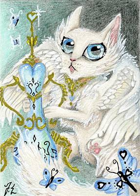Angels Drawing - Aceo Cupid Kitty by Jennifer  Anne Esposito
