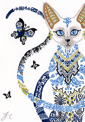 Aceo Drawing - Aceo Egyptian Porcelain Cat by Jennifer  Anne Esposito