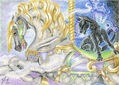 Fantasy Drawing - Aceo Magical Carousel by Jennifer  Anne Esposito