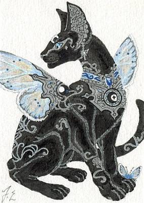 Fairy Drawing - Aceo Moon Cat 2 by Jennifer  Anne Esposito