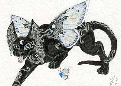 Extinct And Mythical Drawing - Aceo Moon Cat 3 by Jennifer  Anne Esposito