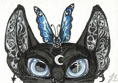 Extinct And Mythical Drawing - Aceo Moon Cat by Jennifer  Anne Esposito
