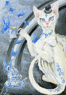 Egyptian Painting - Aceo Tea Time Feline - Series by Jennifer  Anne Esposito
