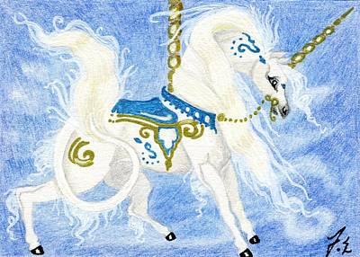 Unicorn Drawing - Aceo White Carousel Unicorn by Jennifer  Anne Esposito