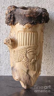 Achaemenian Soldier Relief Sculpture Wood Work Art Print by Persian Art
