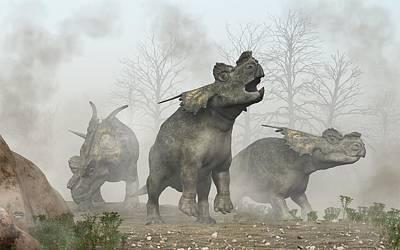 Primeval Digital Art - Achelousauruses by Daniel Eskridge