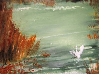 North American Wildlife Painting - Achieving Stillness2 by Laurianna Taylor