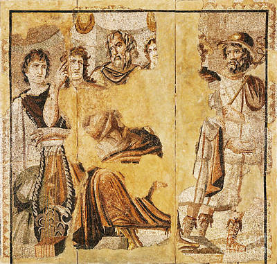 Mosaic Tesserae Tiles Photograph - Achilles And Briseis by Getty Research Institute