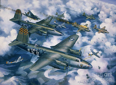 Military Aviation Art Painting - Achtung Zweimots by Randy Green