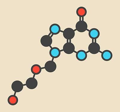 Aciclovir Antiviral Drug Molecule Art Print by Molekuul