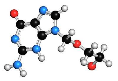 Molecule Photograph - Aciclovir Herpes Drug Molecule by Molekuul