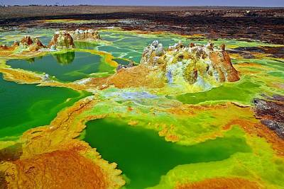 Acid Lakes Of Dallol Volcano Art Print by Liudmila Di