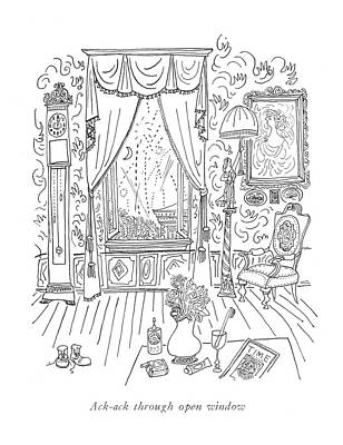 Ack-ack Through Open Window Art Print by Saul Steinberg