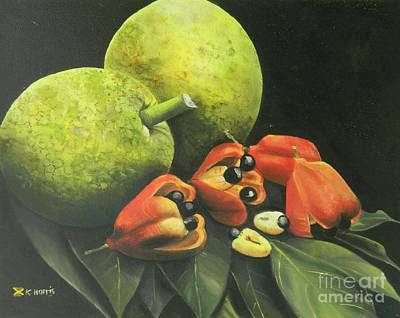 Fruit Tree Art Painting - Ackee And Breadfruit by Kenneth Harris
