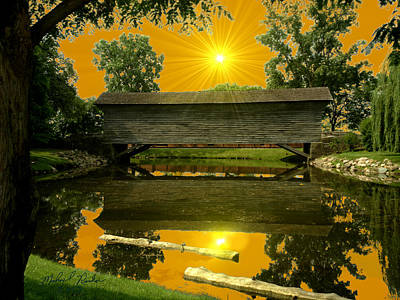 Ackley Covered Bridge Art Print by Michael Rucker