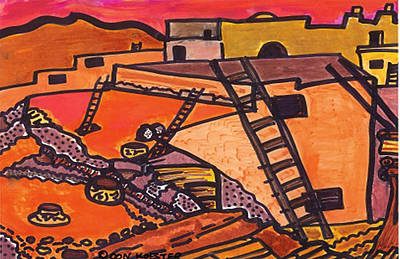 Pueblo Drawing - Acoma  by Don Koester