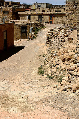 Adobe Photograph - Acoma Pueblo Street Scene by Joe Kozlowski