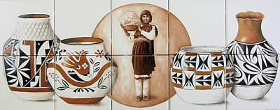 Acoma Woman Pueblo Pottery Art Print