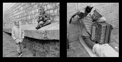 Photograph - Acordion Player Diptych by Dave Beckerman