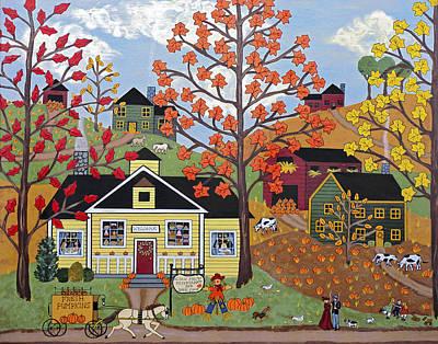 Scarecrow Painting - Acorn Farms by Medana Gabbard